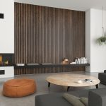Living room with designer furniture and Akupanel walnut